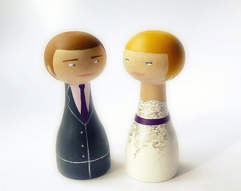 FREE SHIPPING Unique wedding cake topper Custom Wedding Personalized Wooden peg doll art hand painted
