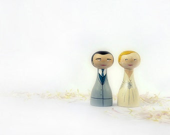 FREE SHIPPING Wedding Cake Topper - Personalized - Wooden art doll hand painted