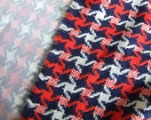 Vintage pinwheel plaid red, white and blue woven fabric 1 yard