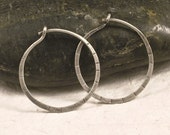 Simple Silver Hoops -  Small Hammered Antiqued Blackened Distressed Oxidized Organic Sterling Silver Hoop Earrings