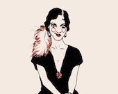 """Art Deco Woman Lady Fashion Illustration Dancer Feather 1920's Outfit Beauty Print Drawing   """"Daisy""""   art PRINTS by Lauren B   MADE by LB"""