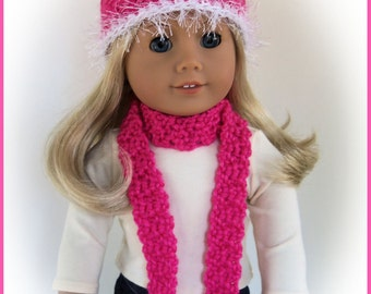 Fits  American Girl Doll, Bright Pink Sparkle Hat and Scarf Set, Crochet, 18 Inch Handmade