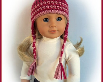 Doll Clothes Made To Fit American Girl, Crochet Pigtail Hat with Braids, Raspberry, Handmade Doll Clothes