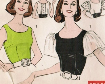 1960s Advance 9376 Vintage Sewing Pattern Misses Sleeveless Blouse, Fitted Blouse, Cummerbund Size 16 Bust 36