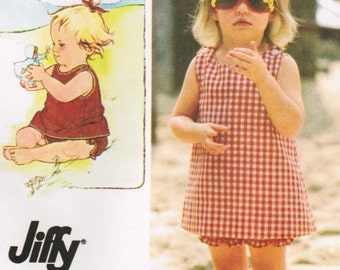 1980s Simplicity 9386 Vintage Sewing Pattern Girls A-line Sundress and Bloomers or Panties Size 3