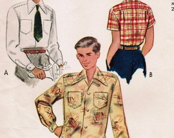 1940s McCall 7460 Vintage Sewing Pattern Boy's Shirt Size 8