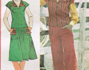 1970s McCall's 5301 Vintage Sewing Pattern Misses' Top, A-line Skirt, Wide Leg Pants Size 14 Bust 36