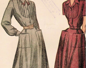 1940s Simplicity 2284 UNCUT Vintage Sewing Pattern Misses' One-Piece Dress Size 14 Bust 32
