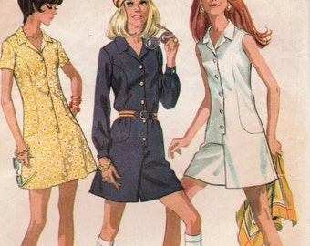 1970s McCall's 2282 Vintage Sewing Pattern Misses' Mini Pantdress and Dress Size 12 Bust 34