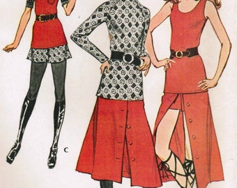 1970s McCall's 2943 Vintage Sewing Pattern Misses Sleeveless Top, Tunic Top, Shorts, Flared Skirt Size 12 Bust 34