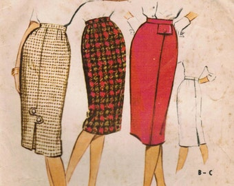 1950s McCall's 5048 Vintage Sewing Pattern Misses One Yard Skirt Size Waist 26