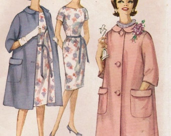 1960s Simplicity 4338 Vintage Sewing Pattern Junior Slim Dress, Sheath, Coat Size 13 Bust 33