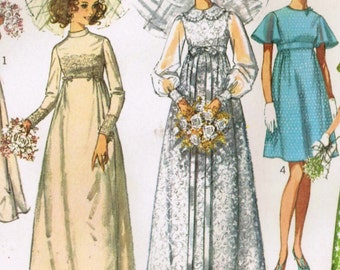 1960s Simplicity 8144 UNCUT Vintage Sewing Pattern Misses' Wedding Dress, Bridal Gown, Bridesmaid Dress Size 12 Bust 34