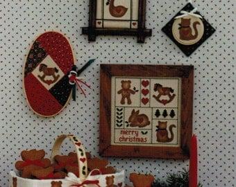 1980s Kitty Korner Designs 105 Vintage Craft Pattern Holiday Stencils and Cross Stitch Christmas, Valentine's Day
