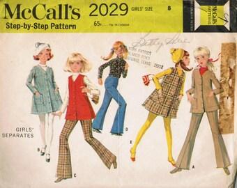 1960s McCall's Vintage 2029 Sewing Pattern Girls A-line Jumper, Jacket, Coat, Vest, Blouse, Flared Pants Size 8