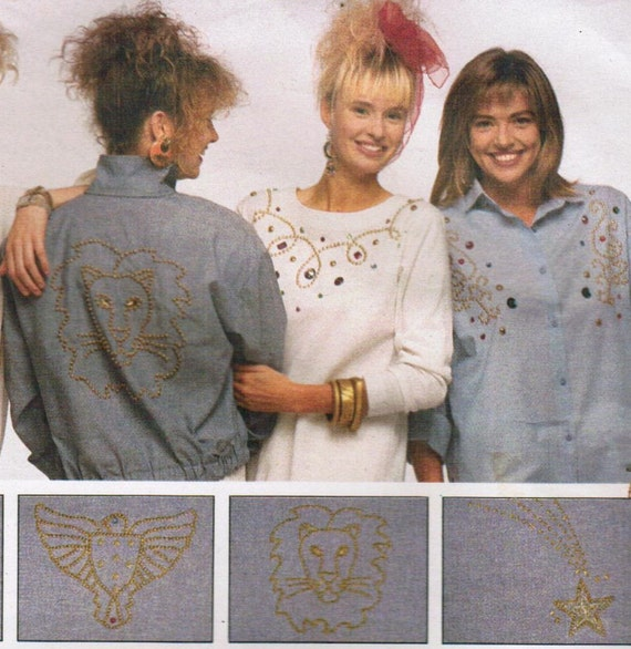 1980s Butterick 4695 Vintage Craft Pattern 24 Designs for Jewel Stones, Rhinestones and Nailheads to Embellish Your Garment One Size