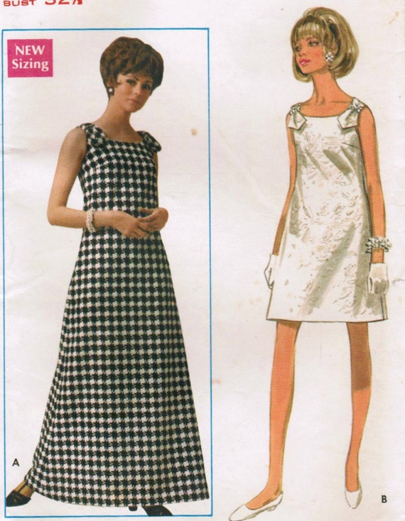 1960s Butterick 4880 UNCUT Vintage Sewing Pattern Misses' Evening Dress in Two Lengths Size 10 Bust 32-1/2
