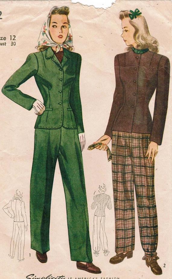 1940s Simplicity 4362 Vintage Sewing Pattern Misses' Slacks Suit Size 12 Bust 30