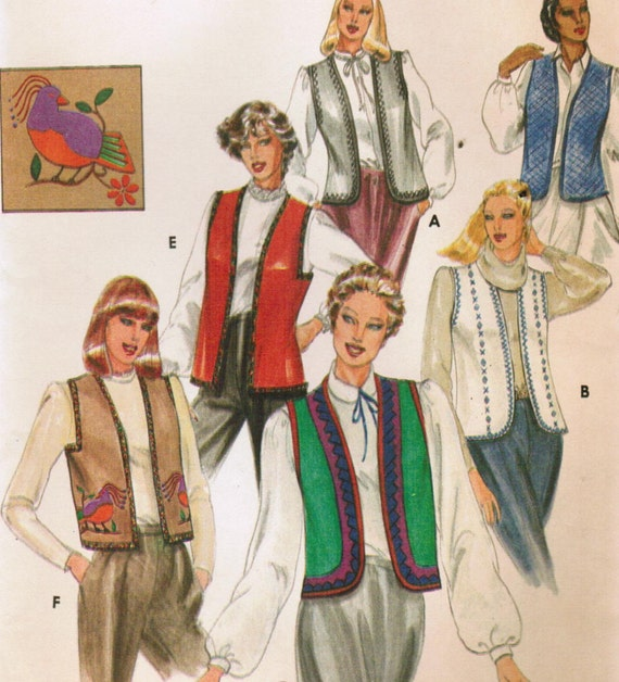 1980s Butterick 3971 UNCUT Vintage Sewing Pattern Misses' Vest and Transfer Size Medium