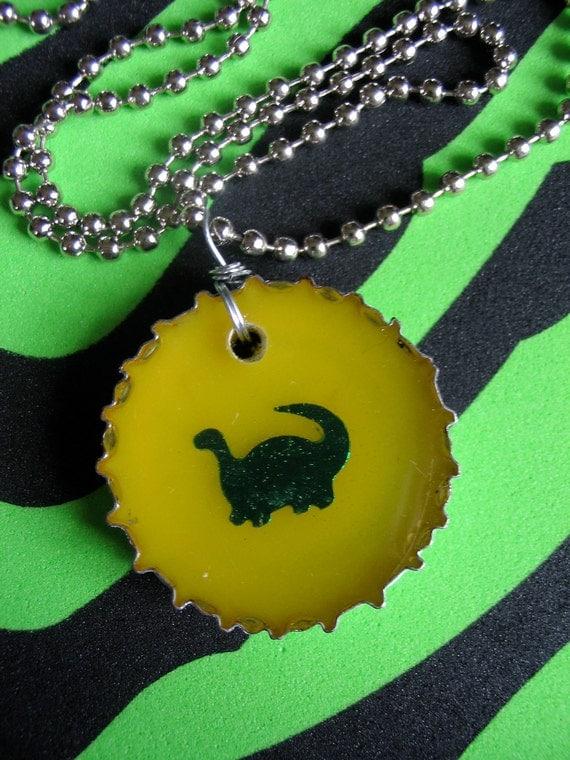Rawr Dinosaur Attack - Resin Necklace - Bottlecap Jewelry