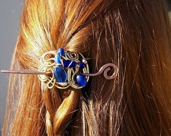 Brass Hairpin SAMPLE photo with Cobalt Blue Glass Beads