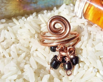 "Copper Ring/ Spiral with Dangles/ ""Dreams at Night"""