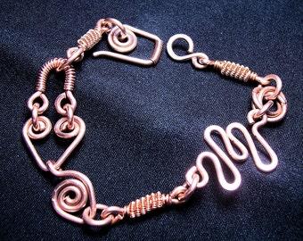 "Copper Bracelet / Crazy Link / Handforged/  ""Bewitching"""