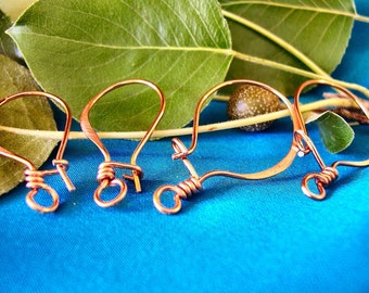 Copper Locking Ear Wires  (4 pair)