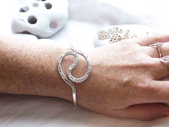 Personalized Cuff Bracelet in  Argentium Sterling ASilver, U-Turn, Quote, Made to Order