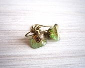 Fleur Posy Drop Earrings in Peridot and Brass