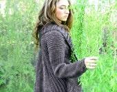 MIA  hand knit cardigan pockets draped back high fashion design taupe grey