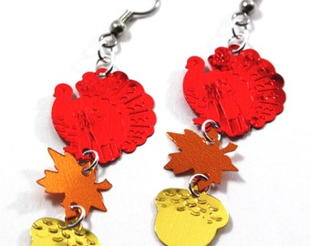 Thanksgiving Earrings Red Turkeys Fall Maple Leaf & Acorn Dangles Plastic Sequins