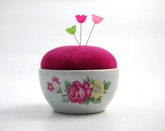 Pincushion 'fleur' glazed ceramic