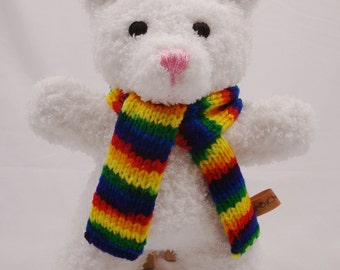Classic Hand Knit White Teddy Bear Plush - 10 Inches Tall - Ready to Ship