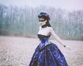 Purple Black Wedding Dress - Corset Steampunk Halloween Velvet Flock- Mardi Gras Masquerade Prom -Custom to your size