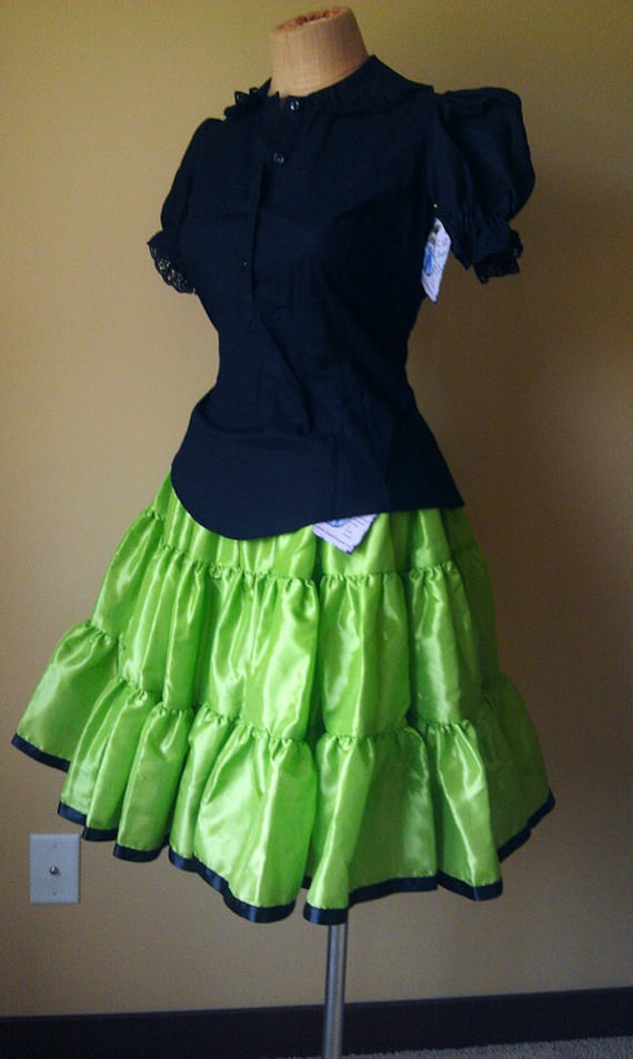 Adult Halloween Costume Gothic Punk Skirt Lime Green - Ready To Ship Medium