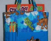 Handmade Fabric Crayon Bag, Tote Bag, Crayon Tote Bag, Crayon Holder, Scooby Doo