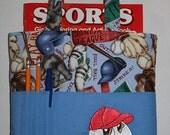 Crayon Bag, Tote Bag, Crayon Tote Bag, Crayon Holder, Baseball