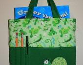 Crayon Bag, Tote Bag, Crayon Tote Bag, Crayon Holder, Turtle