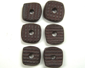 Double Sided Rounded Corner Square Handmade Ceramic Clay Beads, Textured and Reversible with Center Hole, Sturdy Bracelet Component