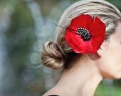 Poppy Red Bridal Feather  Flower -  Hairpiece, Floral,  Hair Flower, Bride, Wedding, Statement Piece The REEGAN