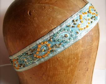Headband - Aqua and Orange Brocaded Headband Hair Accessories