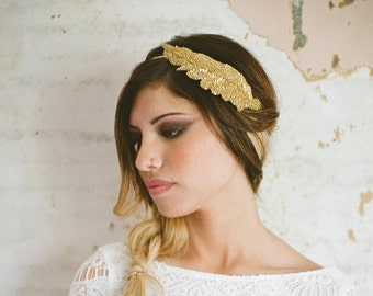Private Sale for Kristine V Grecian Goddess Gold Beaded Leaf Headband