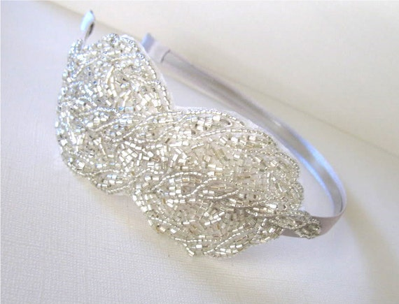 JILLIAN -  Silver Beaded Swirl Headband by bethany lorelle on Etsy