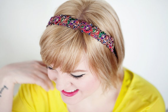 Wildflowers Boho Headband - Multicolored  Women Teen Adult