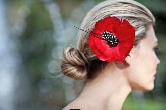 Poppy Red Bridal Feather  Flower -  Hairpiece, Floral,  Hair Flower, Bride, Wedding, Statement Piece The REEGAN