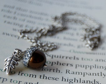 Chocolate and Silver Acorn Necklace