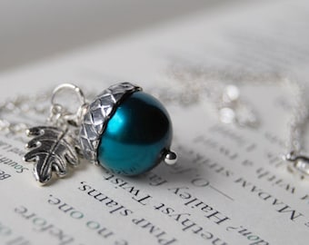 Aqua and Silver Acorn Necklace