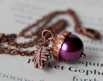Plum and Copper Acorn Necklace