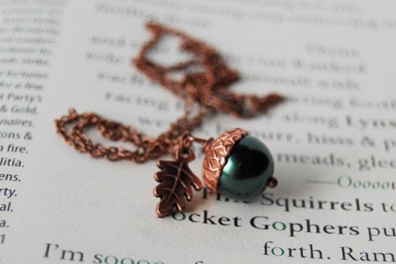 Forest and Copper Acorn Necklace - SALE! -